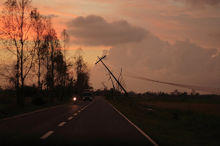 Power Poles after Typhoon Cosme