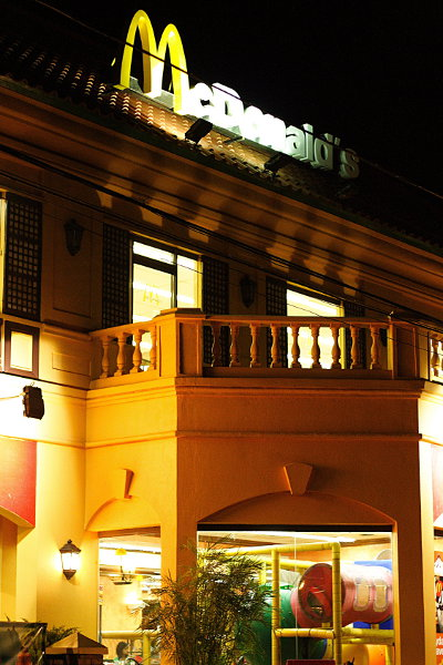 Nighttime shot of McDonalds in Vigan